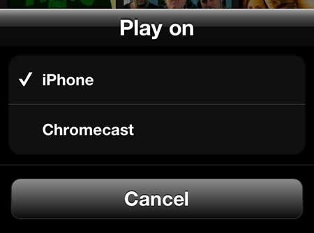 выберите опцию Chromecast