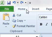 перейдите на главную вкладку Excel 2010