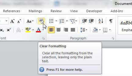 нажмите кнопку очистки форматирования в Word 2010