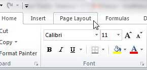 вкладка макета страницы Excel 2010