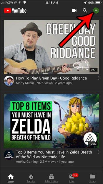 открыть профиль на YouTube