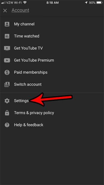 Настройки YouTube для iPhone