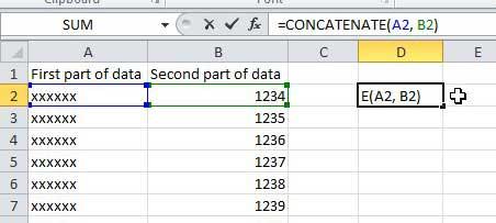 Как объединить несколько столбцов в один столбец в Excel 2010