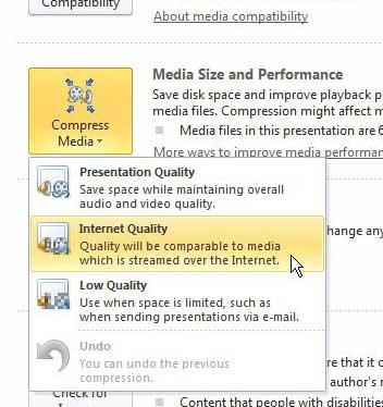 как сжимать видео и аудио в PowerPoint 2010