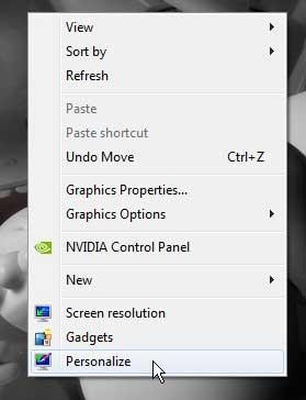 Windows 7 рабочего стола персонализировать меню