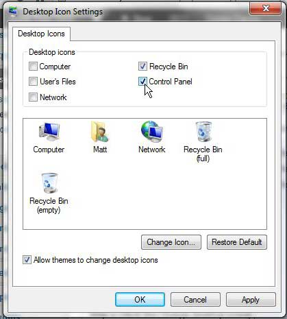 Как создать значок панели управления на рабочем столе в Windows 7