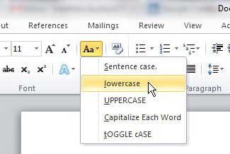 как преобразовать заглавные буквы в маленькие буквы в слове 2010