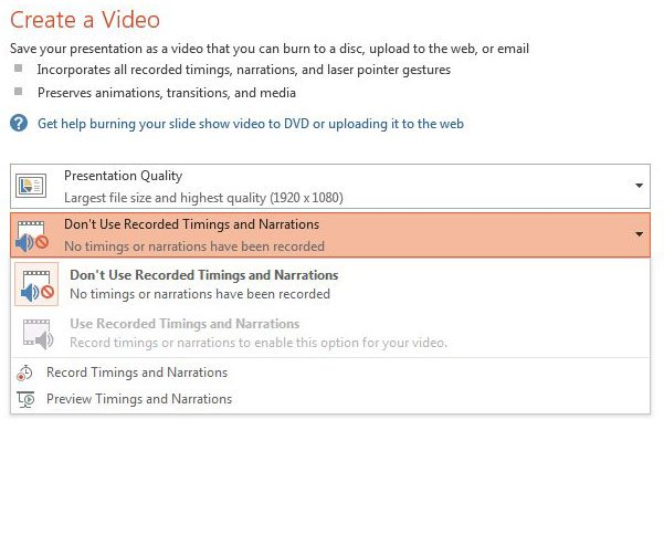 отрегулируйте настройки времени и повествования для видео mp4