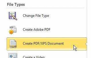 щелкните по созданию документа PDF / XPS в разделе типов файлов