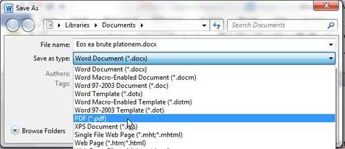 как конвертировать в PDF из Word 2010
