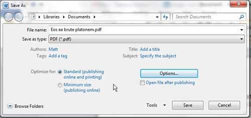 выберите качество PDF в Word 2010