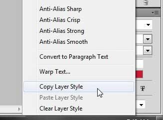 Как скопировать стиль слоя на другой слой в Photoshop CS5