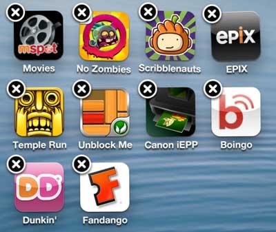 долгое нажатие на приложение на вашем iPhone 5