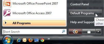установить веб-браузер по умолчанию в Windows Vista