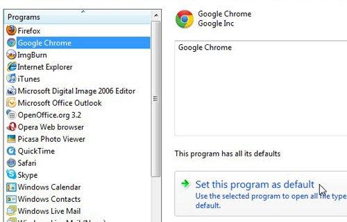 выберите веб-браузер по умолчанию из списка программ слева