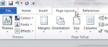 открыть вкладку слова макета страницы