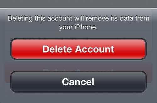 Подтвердите, что вы хотите удалить учетную запись электронной почты