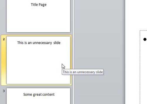 выберите слайд Powerpoint 2010