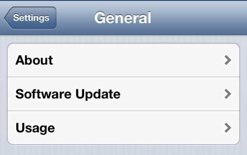 Откройте меню использования iPhone
