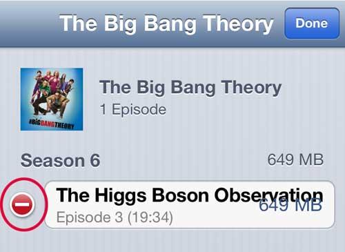 Нажмите красную кнопку слева от названия эпизода