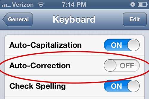 как отключить автокоррекцию для обмена текстовыми сообщениями на iphone 5
