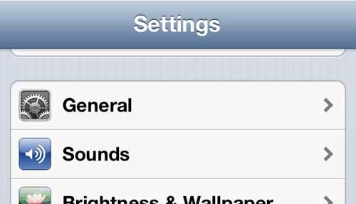 Откройте главное меню iPhone 5
