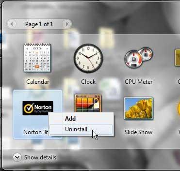 как удалить гаджет Norton 360