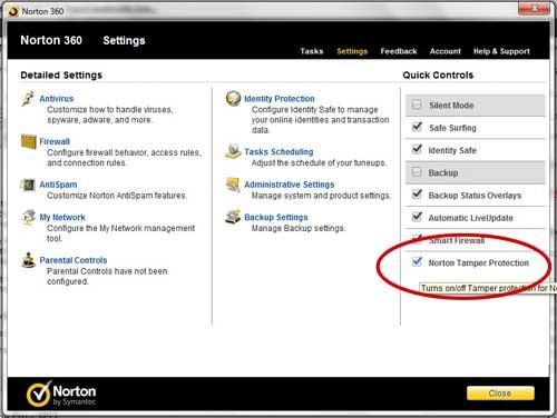 отключить защиту от несанкционированного доступа Norton 360