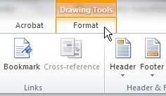 вкладка формата инструментов дизайна