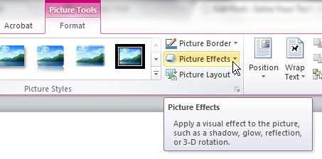 Как добавить тень на картинку в Word 2010