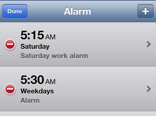 Выберите будильник, который вы хотите редактировать