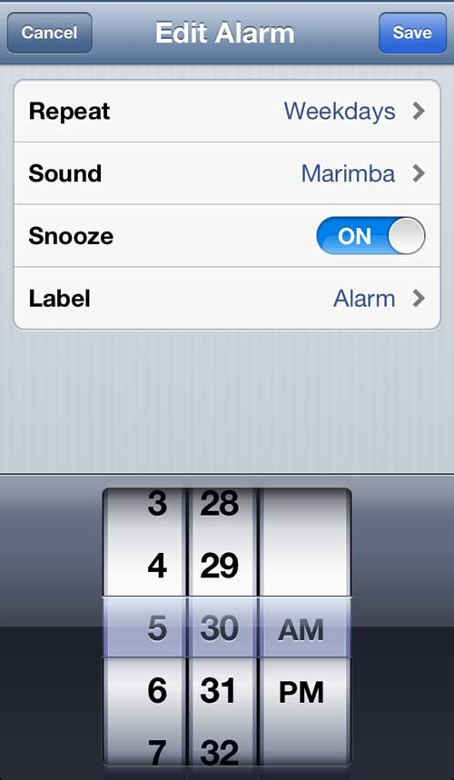 Изменить настройки будильника