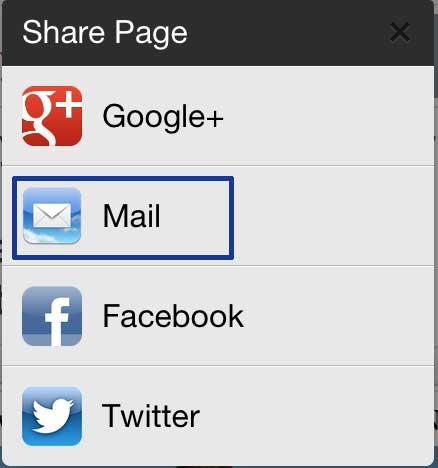 как отправить ссылку по электронной почте из приложения Chrome iphone
