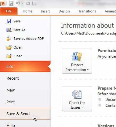 как отправить презентацию по электронной почте в PowerPoint 2010