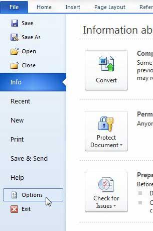 параметры на вкладке файла в Word 2010