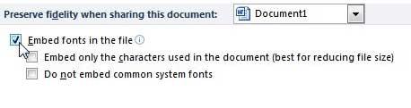 как встраивать шрифты в файлы Word 2010