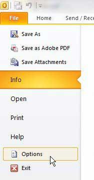 откройте меню параметров Outlook 2010