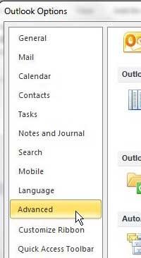 открыть вкладку «Дополнительно» в меню параметров Outlook 2010