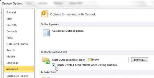 Как очистить Outlook 2010 удаленных элементов при выходе автоматически