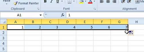 как автоматически нумеровать столбцы в Excel 2010