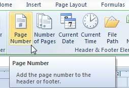 как добавить номер страницы внизу в Excel 2010