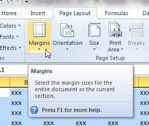 как изменить поля страницы в Excel 2010