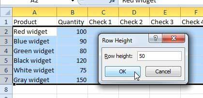 Как изменить высоту для нескольких строк в Excel 2010