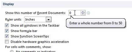 как очистить список последних документов в Excel 2010
