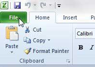 вкладка файла Excel 2010