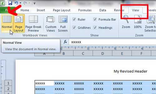 вернуться к нормальному виду Excel