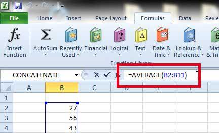 Как рассчитать среднее в Excel 2010