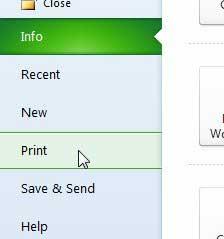 выберите опцию печати