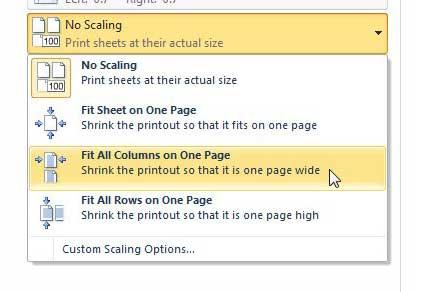 выбрать вариант размещения всех столбцов на одной странице