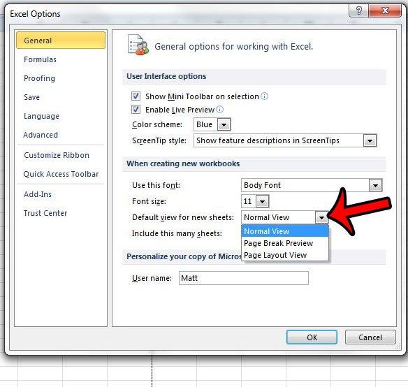 установить представление макета страницы по умолчанию в Excel 2010